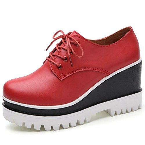 Loisir CM de Mode Talon JRenok Noir Rouge à Blanc 5 Casuel Femme 8 Rouge Mocassins Compensé Confort Chaussures Haute Ville 4qWqBnwXS