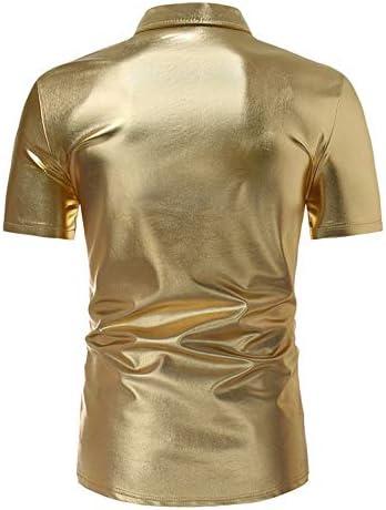 NSSY Camisa de Hombre Summer Shiny Gold Silver Camisa Negra de los Hombres de Manga Corta Slim Fit Party Dress Shirt Men, 4XL: Amazon.es: Hogar