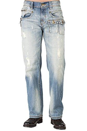 Level 7 Men Relaxed Boot Cut Premium Denim Distressed Jean Zipper Utility Pocket