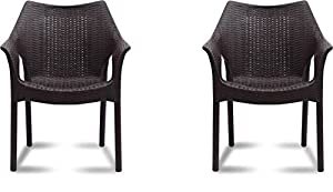 Supreme Cambridge Plastic Outdoor Chair (Brown) - Set of 2