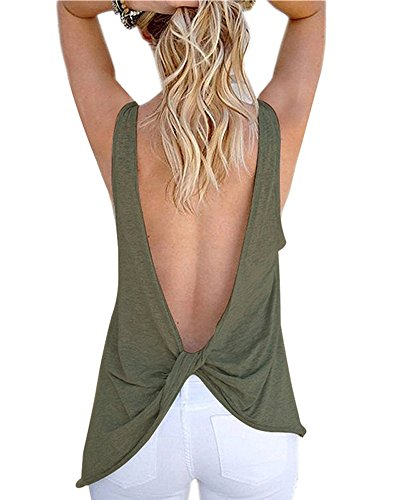 Imixcity Donna Open Back Shirt di Senza Maniche Annodata Canotte Top Verde Scuro