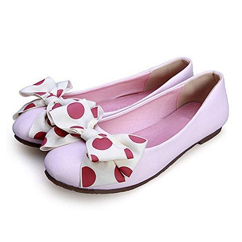 OCHENTA 2017 Nuevo Moda Zapatos Planos boca baja de Los Estudiantes flores se inclinan Rosa