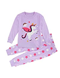 Mombebe Girls' Unicorn Pajamas Set Kids Nightwear 2PCs Long Sleeves