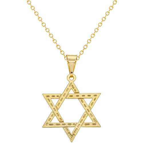 In Season Jewelry 18k Gold Plated Jewish Religious Star of David Flat Medal Necklace Pendant ()
