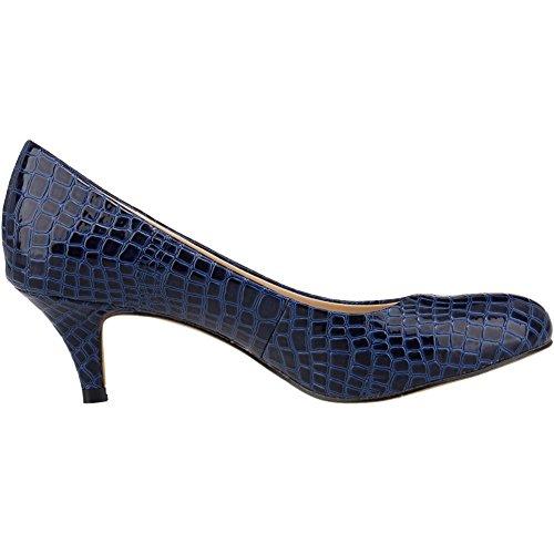 Grain Slender Pumps Mid Zbeibei Court Crocodile Heels Blue Toe B Round Women's Work Crocodile qnXRF