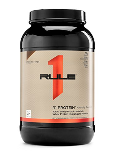R1 Protein Naturally Flavored Whey Isolate/Hydrolysate, Rule 1 Proteins (Chocolate Fudge, 38 Servings)