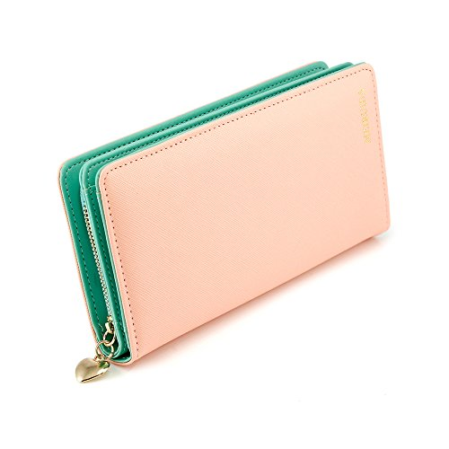 Women Fashion PU Leather Wallet Zip Around Purse Long Handbag (Pink) - 1