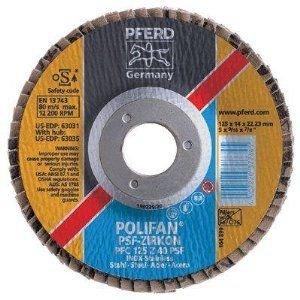 PFERD Polifan PSF Abrasive Flap Disc, Type 27, Round Hole, Phenolic Resin Backing, Zirconia Alumina, 4-1/2 Dia., 40 Grit (Pack of 1) by Pferd -  3970621