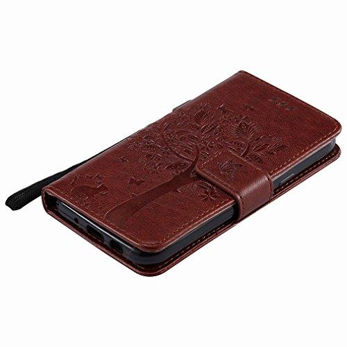 Yiizy Samsung Galaxy J3 (2017) Custodia Cover, Alberi Disegno Design Sottile Flip Portafoglio PU Pelle Cuoio Copertura Shell Case Slot Schede Cavalletto Stile Libro Bumper Protettivo Borsa (Caffè)