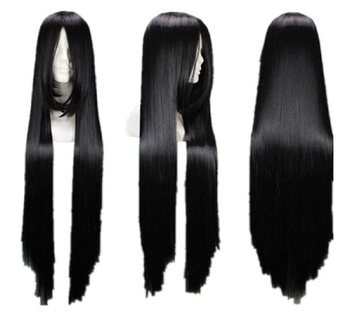 [Azrael Black Butler Long Black Straight Cosplay Wig Costume Wigs lacefront wig party wig] (Hot Butler Costume)