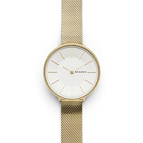 Skagen Women's Karolina Analog-Quartz Stainless-Steel-Plated Strap, Gold, 14 Casual Watch (Model: SKW2722)