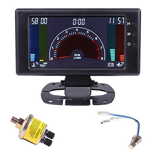 Lcd Oil Gauge Temperature - CT-CARID 6 in 1 Auto Multi-Function Gauge LCD Digital RPM Tachometer Oil Pressure Gauge Volts Water Temp with Sensor Car Accessories