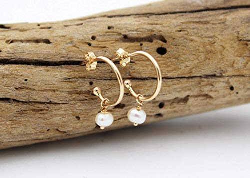14k gold pearl earrings for sale  Delivered anywhere in USA