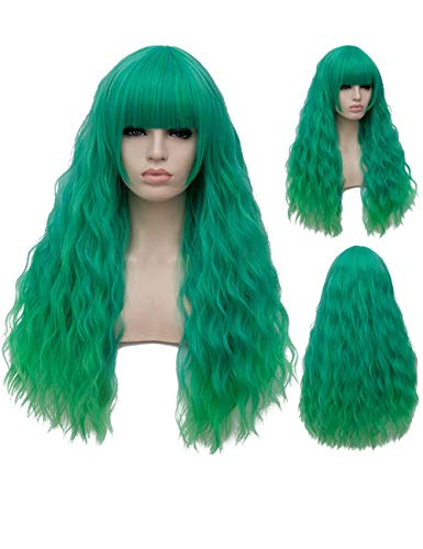 TopWigy Green Cosplay Wig Long Fluffy Curly Wavy Costume Wigs for Women Girl Synthetic Party Wigs (Green 28