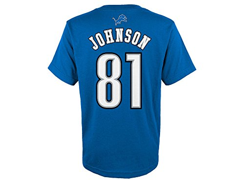 Outerstuff Calvin Johnson Detroit Lions Youth Mainliner Jersey Name and Number T-shirt Medium - Johnson Jersey Youth
