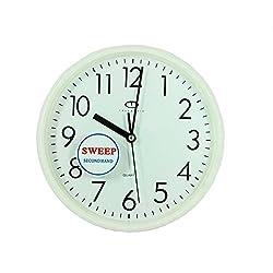 Telesonic White Quartz Wall Clock w/Quiet Sweep Second Hand