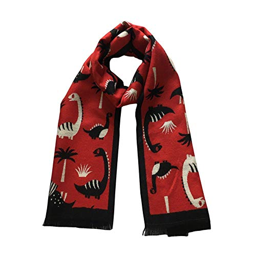 Canyixiu Kids Soft Knit Cute Cartoon Tassel Scarf, One Size Fits Most, for Toddlers, Little Kids, Big Kids (Color : Red)