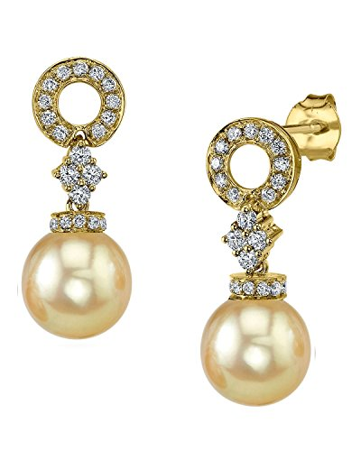 18k South Sea Pearl Earrings (18K Gold Golden South Sea Cultured Pearl & Diamond Vanessa Earrings)