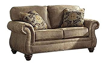 Ashley Furniture Signature Design   Larkinhurst Traditional Loveseat   Faux  Weathered Leather Sofa   Earth