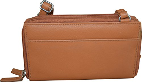 Women's Double amp; Taylor Tan Zipper Bag Wallet Leather Clutch Paul amp; Crossbody EwqCTE