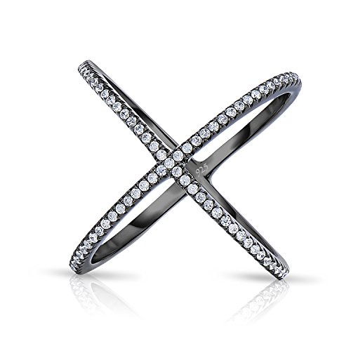 (Unique Royal Jewelry Sterling Silver Criss Cross X Ring Micro Pave Cubic Zirconia Black Platinum Long Ring. (9))