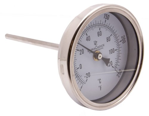 Industrial Bimetal Thermometer 3 Face x 6 Stem, 0-250 w Calibration Dial