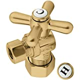 """Kingston Brass CC53307X Vintage 5/8"""" X 3/8"""" OD Comp Angle Stop with Handle, Brushed Brass"""