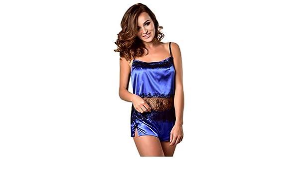 4192b328914 Amazon.com  Usstore Women 2PCS Lace Mesh Sleepwear Pyjamas Sets Sexy  Romantic Satin Sling Shorts Comfort Home Underwear (S