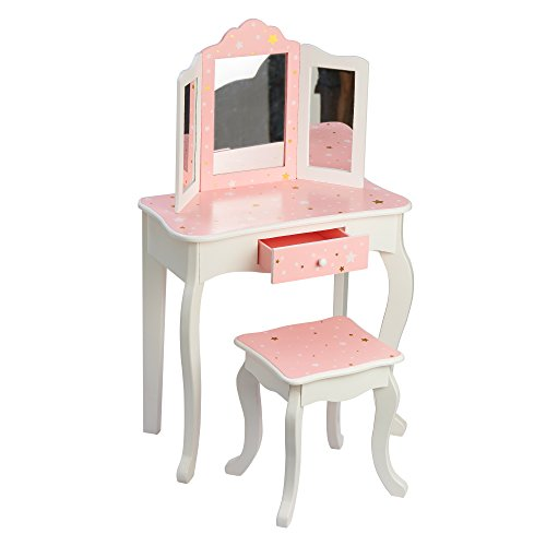 Teamson Kids Pretend Play Kids Vanity Table and Chair Vanity Set with Mirror Makeup Dressing Table with Drawer Fashion Twinkle Star Prints Gisele Play Vanity Set Pink White