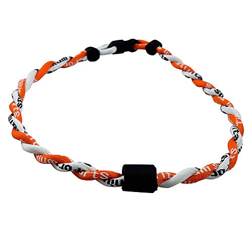 Twisted 2 Rope Braided Titanium Ionic Sports Necklace Baseball Necklace (Orange/White, 20inch)