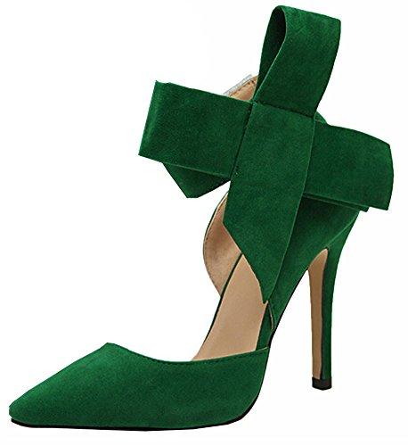 Big Schmetterling Wildleder Damen Schuhe mit hohen Absätzen Großformat Grün