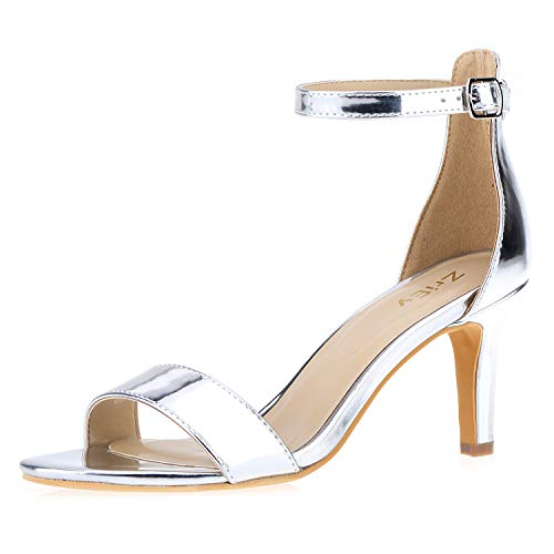 - ZriEy Women's Heeled Sandals Ankle Strap High Heels 7CM Open Toe Mid Heel Sandals Bridal Party Shoes Silver Size 8