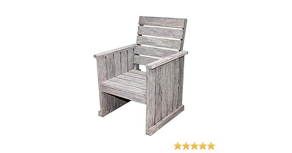 STRANDGUT07 - Silla de jardín Lounge de madera de teca, gris lavado: Amazon.es: Jardín