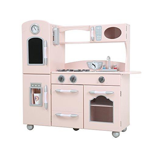 Teamson Kids Retro Wooden Play Kitchen With Refrigerator