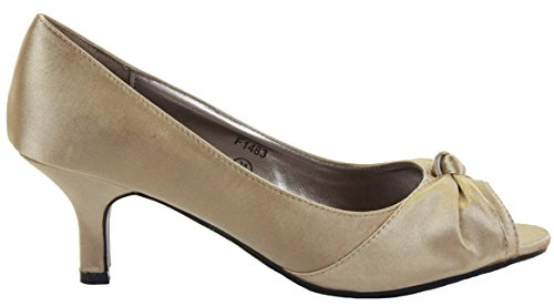 Ladies Womens Bridal Bridesmaid Wedding Low Mid Kitten Heels Prom Party Peeptoe Sandals Shoes Size New Style 8 - Taupe