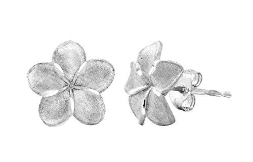 Sterling Silver Plumeria Stud Earrings (Hawaii Plumeria Earrings)