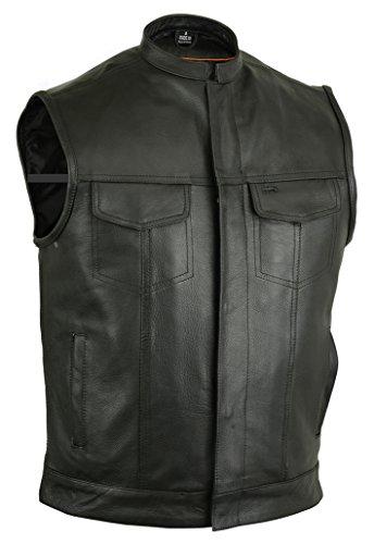 Gunmetal Leather Vest (Upgraded Style Gun Pockets Hidden Gun Metal Zipper Motorcycle Vest - 9XL)