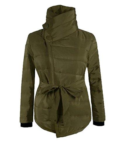 Delle Eku Militare Donne Irregolare Sexy Alto 3xl Sottile Solido Outwear Verde Breve Collo HBwxzqv7