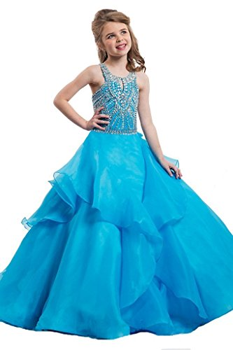 GreenBloom Halter Ruche Girls' Pageant Dress 2 US Blue