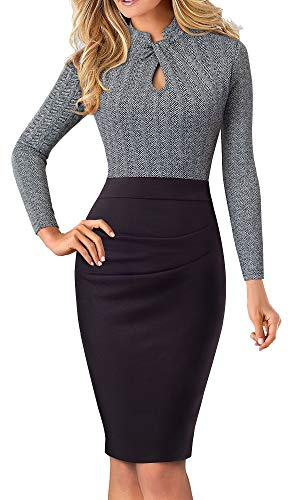 HOMEYEE Women's Short Sleeve Business Church Dress B430 (8, Gray+Long Sleeve)