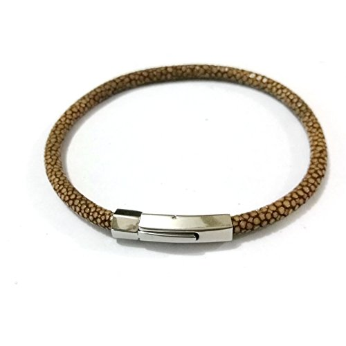- BeiChong Luxury 5MM Stingray Leather Bracelet Silver Stainless Steel Buckle Bangles for Women Men (Brown)