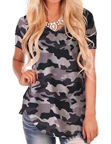 - Women Tops and Blouses V Neck Shirts Short Sleeve Top Tee Casual Camo L
