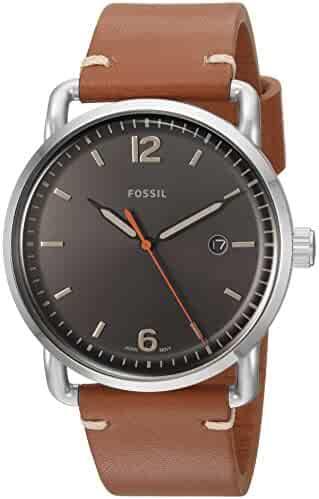 f8894b562 Fossil Men's The Commuter Quartz Stainless Steel and Leather Casual Watch,  Color: Silver-
