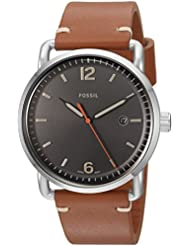 Fossil Mens FS5328 The Commuter Three-Hand Date Light Brown Leather Watch