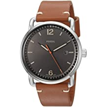Fossil Men's The Commuter Quartz Stainless Steel and Leather Casual Watch, Color Silver-Tone, Brown (Model: FS5328)