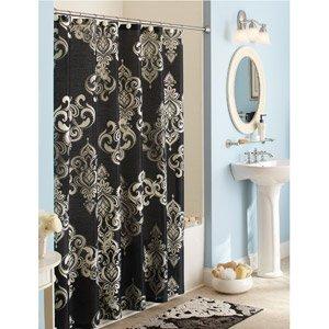 Black Gray Elegant Traditional Damask Shabby Chic Fabric Shower Curtain And Bath Rug Set Bathroom