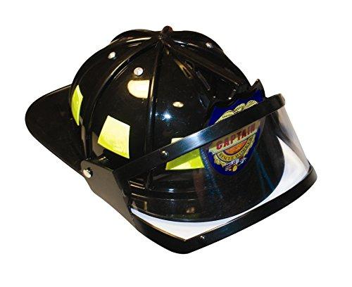 Aeromax Firefighter Helmet with movable visor, Black, Adjustable Size (Adult Tan Fireman Costume)