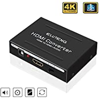 ELUTENG HDMI to Digital Optical 4k HDMI Audio Extractor Splitter 5.1/2 CH Pass HDMI to HDMI Connector Optical TOSLINK SPDIF Analog RCA L / R digital Converter for PC Laptop HDTV
