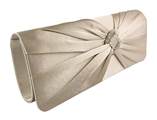 AITING Womens Satin Diamante Pleated Evening Clutch Bag Bridal Handbag Prom Purse (Champagne gold)