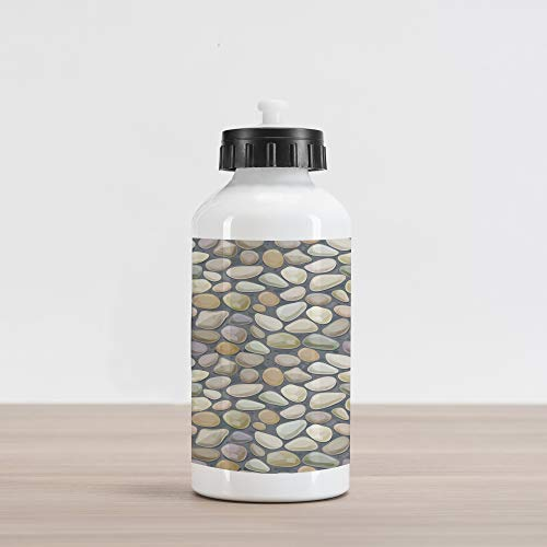 Ambesonne Cobblestone Aluminum Water Bottle, Pebble Stonewall Graphic Illustration Soft Pastel Color Wet Looking Rubbles, Aluminum Insulated Spill-Proof Travel Sports Water Bottle, Multicolor (Drink Stonewall)